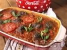 Рецепта Боб на фурна с пресни домати и спаначени кюфтенца
